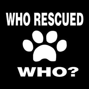 Frenchie World Shop Silver Who Rescued Who? Vinyl Car Sticker
