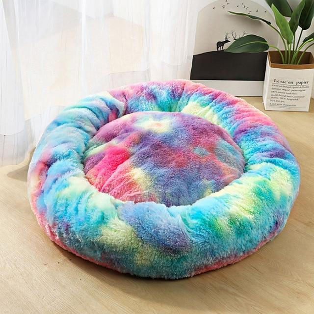 Frenchie World Shop Colorful Blue / 50x50cm Winter New Rainbow Dog Bed For Small Medium Large Dog Cat Soft Plush Lounger Round Kitten Puppy Dog Bed Mat Pet Dog Kennel