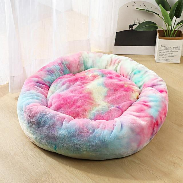 Frenchie World Shop Colorful Pink / 50x50cm Winter New Rainbow Dog Bed For Small Medium Large Dog Cat Soft Plush Lounger Round Kitten Puppy Dog Bed Mat Pet Dog Kennel