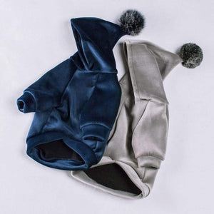 Frenchie World Shop Winter Velour Pom Hoodie