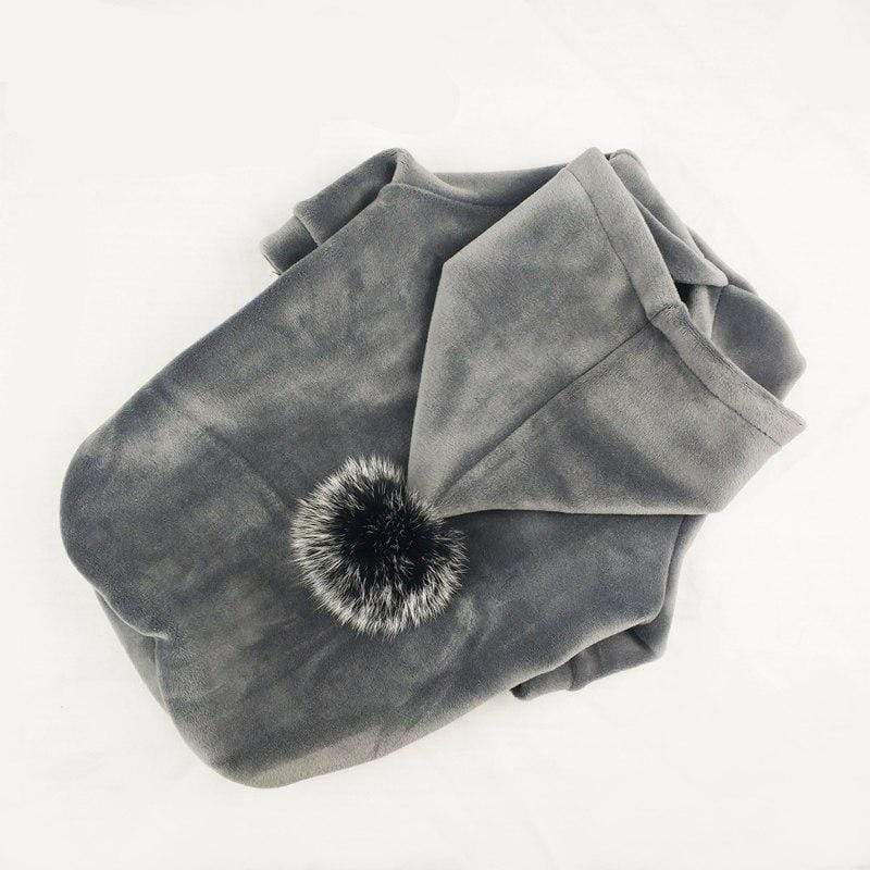 Frenchie World Shop Gray / L Winter Velour Pom Hoodie
