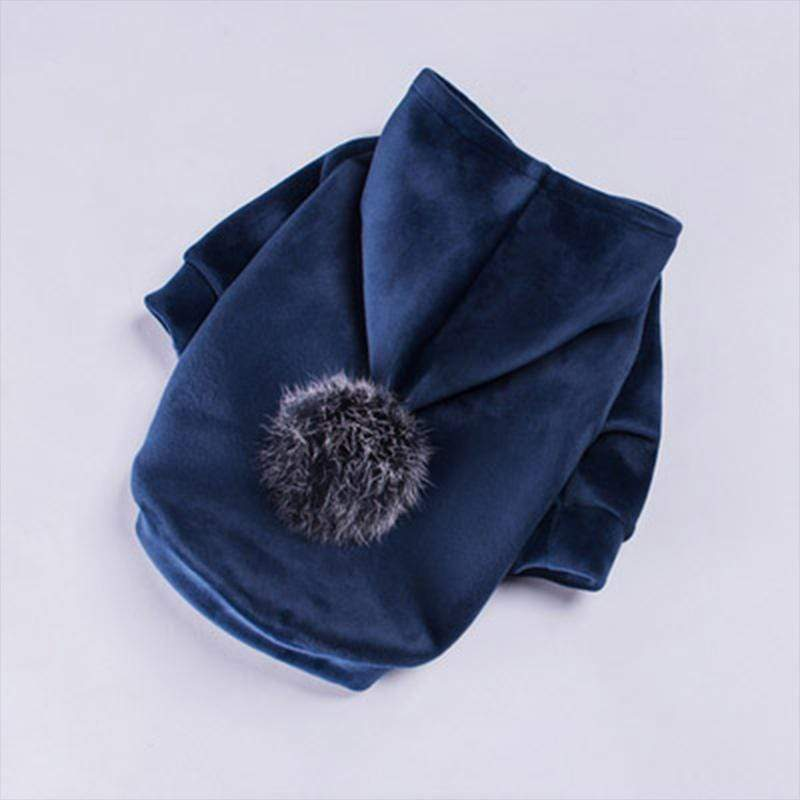 Frenchie World Shop Navy Blue / L Winter Velour Pom Hoodie