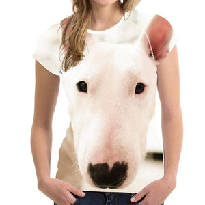 Frenchie World Shop H3155BV / S Womens All Over Bull Terrier Face t-shirt
