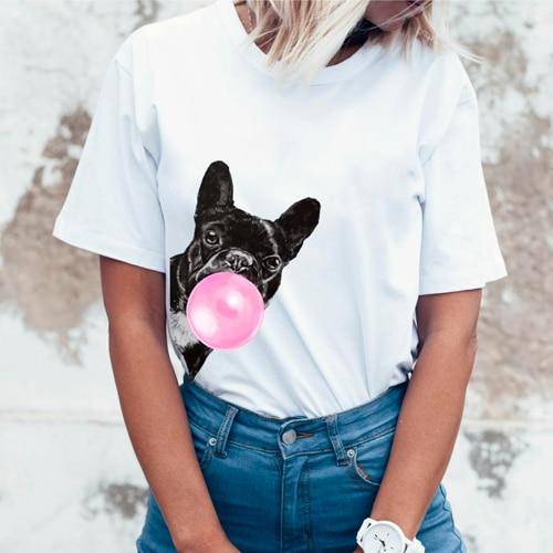 Frenchie World Shop Womens French Bulldog Bubble Gum T-shirt