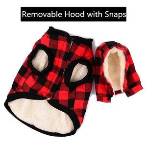 Frenchie World Shop Wool Plaid Jacket With Detachable Hood