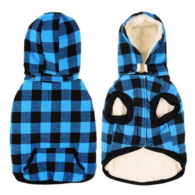 Frenchie World Shop blue / S Wool Plaid Jacket With Detachable Hood