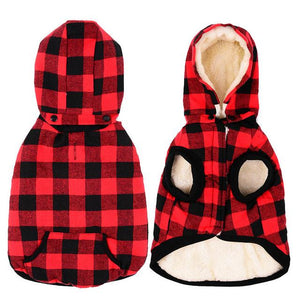 Frenchie World Shop red / S Wool Plaid Jacket With Detachable Hood