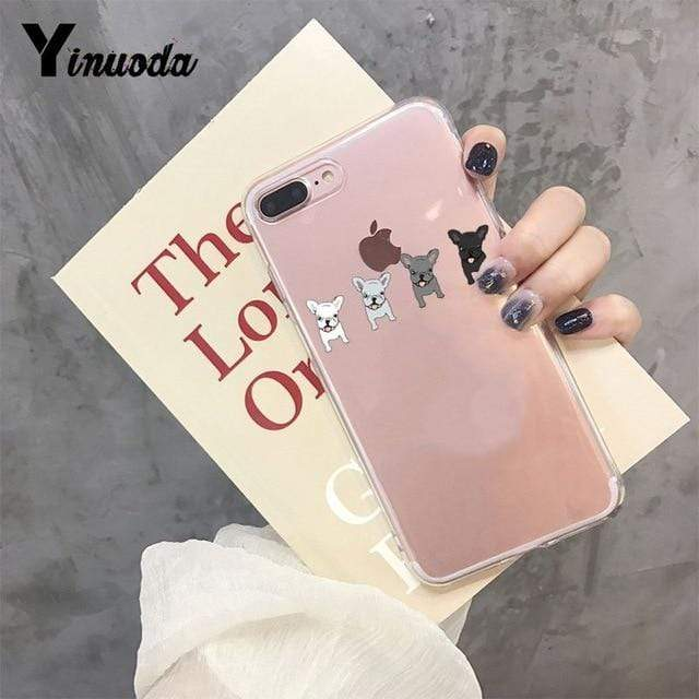 Frenchie World Shop For iPhone 6 6s / 4 Yinuoda Cute Brindle Frenchie Puppy Colorful Cute Phone Accessories case for iPhone 8 7 6 6S Plus X XS MAX 5 5S SE XR 11 pro max