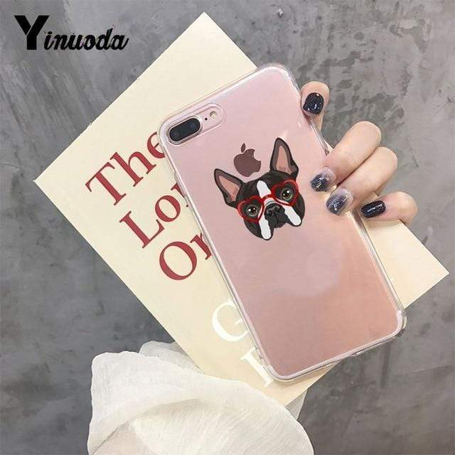 Frenchie World Shop For iPhone 7 or 8 / 5 Yinuoda Cute Brindle Frenchie Puppy Colorful Cute Phone Accessories case for iPhone 8 7 6 6S Plus X XS MAX 5 5S SE XR 11 pro max