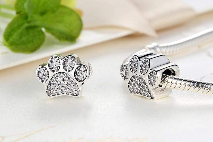 Frenchie World Shop Human accessories Zirconia Paw beads (925 Sterling Silver)