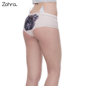 Frenchie World Shop Zohra Fashion Animal Women Ear Underwear French Bulldog 3D Printing Sexy Panties Woman Lingerie Underwear