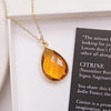 Citrine pendant necklace - 14k Dainty Gold Filled chain
