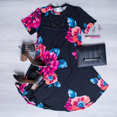 Naples Dress- Black Magenta