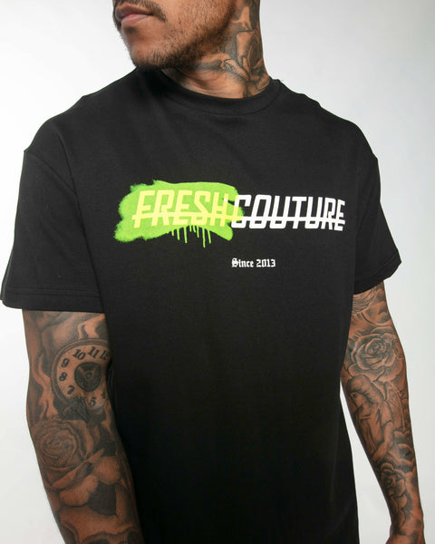 Fresh Couture Spray T-Shirt in Black/Volt