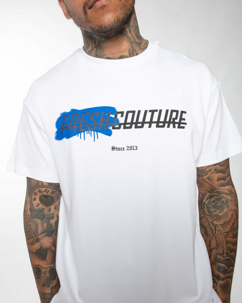 Fresh Couture Spray T-Shirt in White/Blue