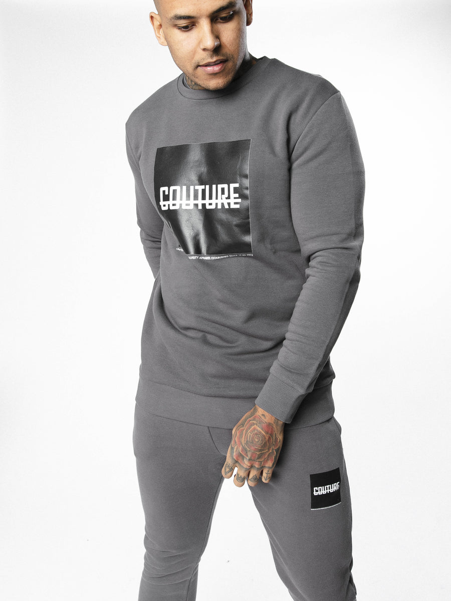 FRESH COUTURE Block Strike Sweatshirt 'Grey/Black' Sweatshirt