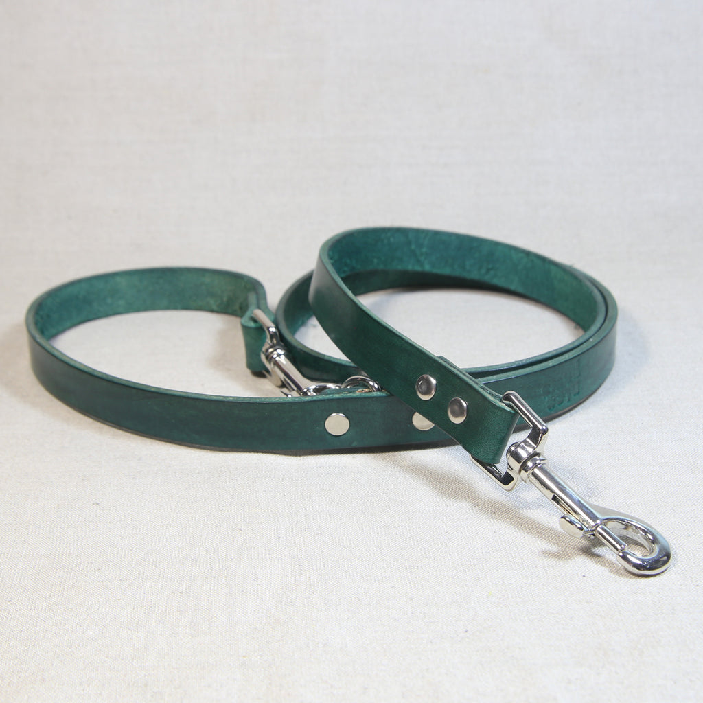 Clip Handle Leather Leash - Jade