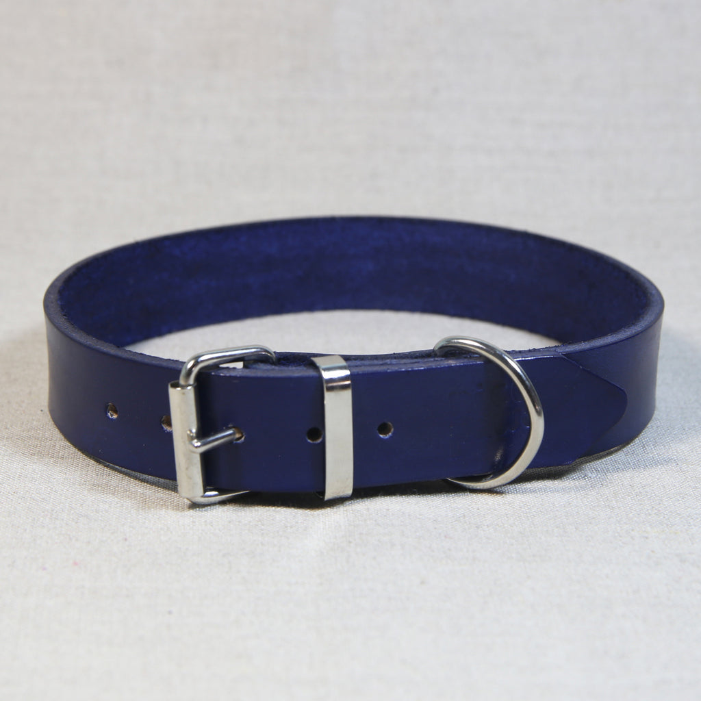 Leather Collar - Navy