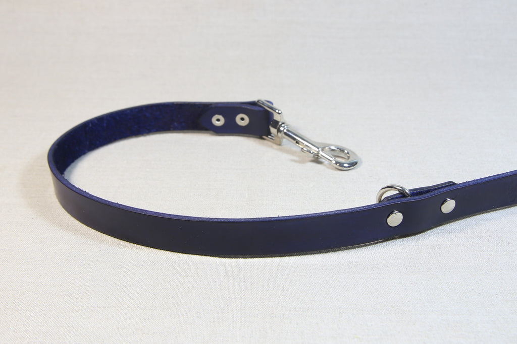 Clip Handle Leather Leash - Navy