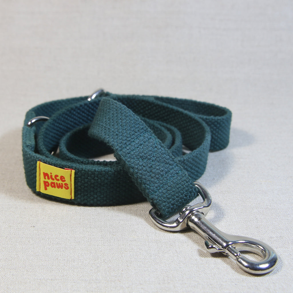 Clip Handle Cotton Leash - Bottle Green
