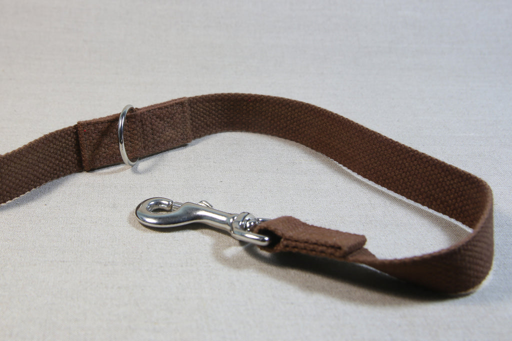 Clip Handle Cotton Leash - Brown