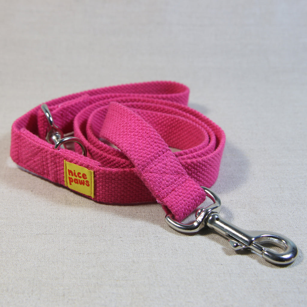Clip Handle Cotton Leash - Pink