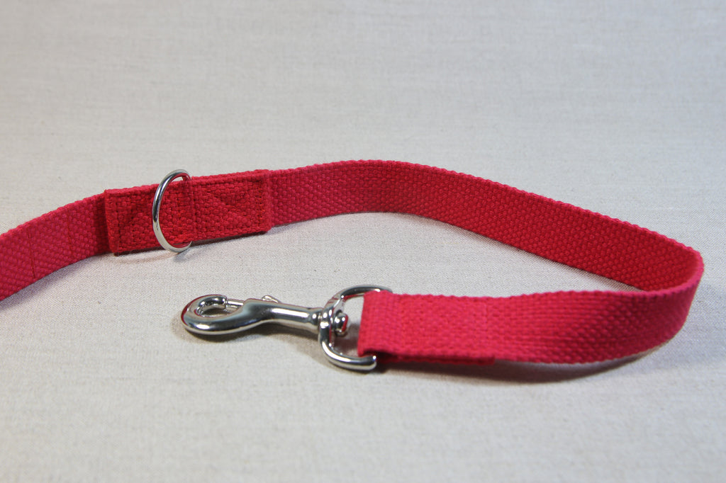 Clip Handle Cotton Leash - Red