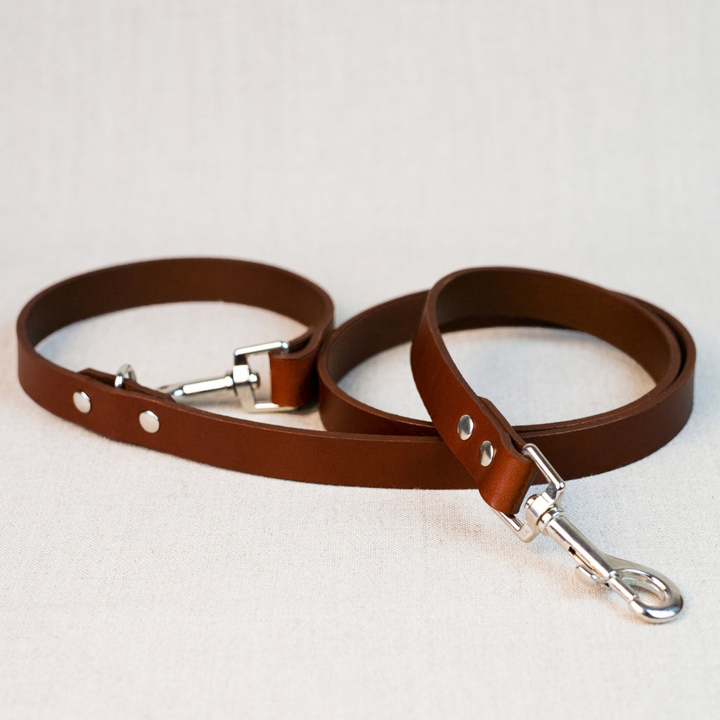 Clip Handle Leather Leash - Cognac