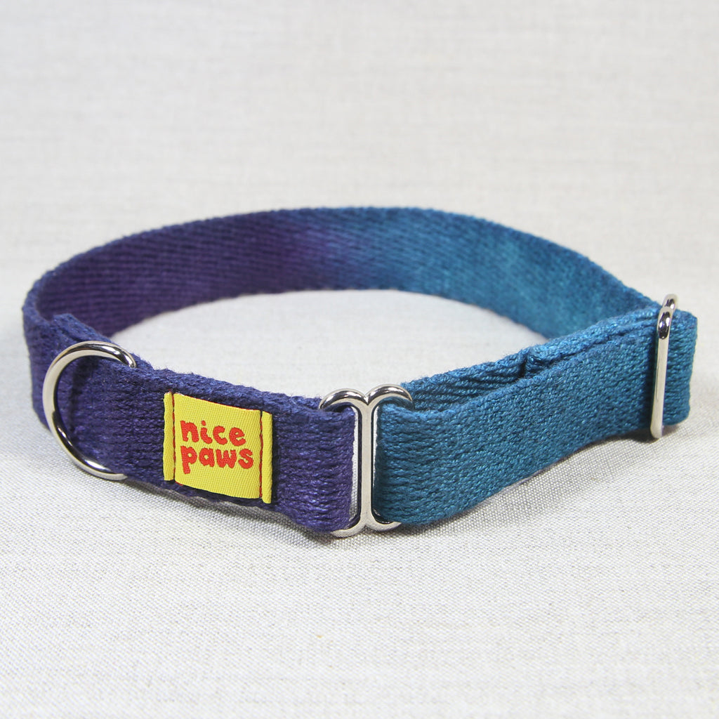 Hemp Slide-On Collar - Teal/Purple