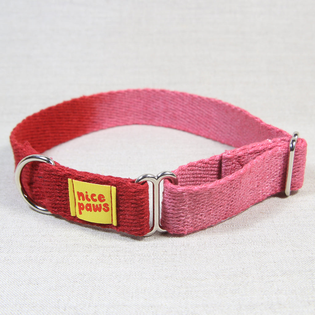 Hemp Slide-On Collar - Pink/Red
