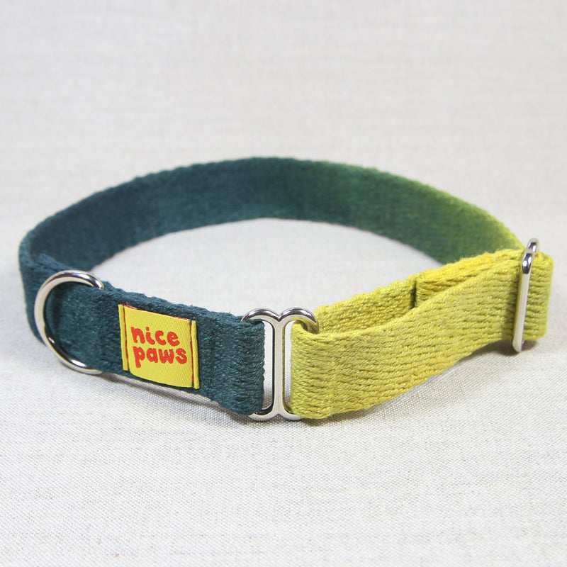 Hemp Slide-On Collar - Yellow/Forest Green
