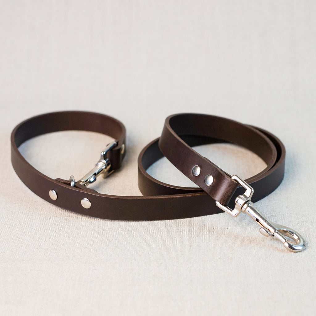 Clip Handle Leather Leash - Dark Brown