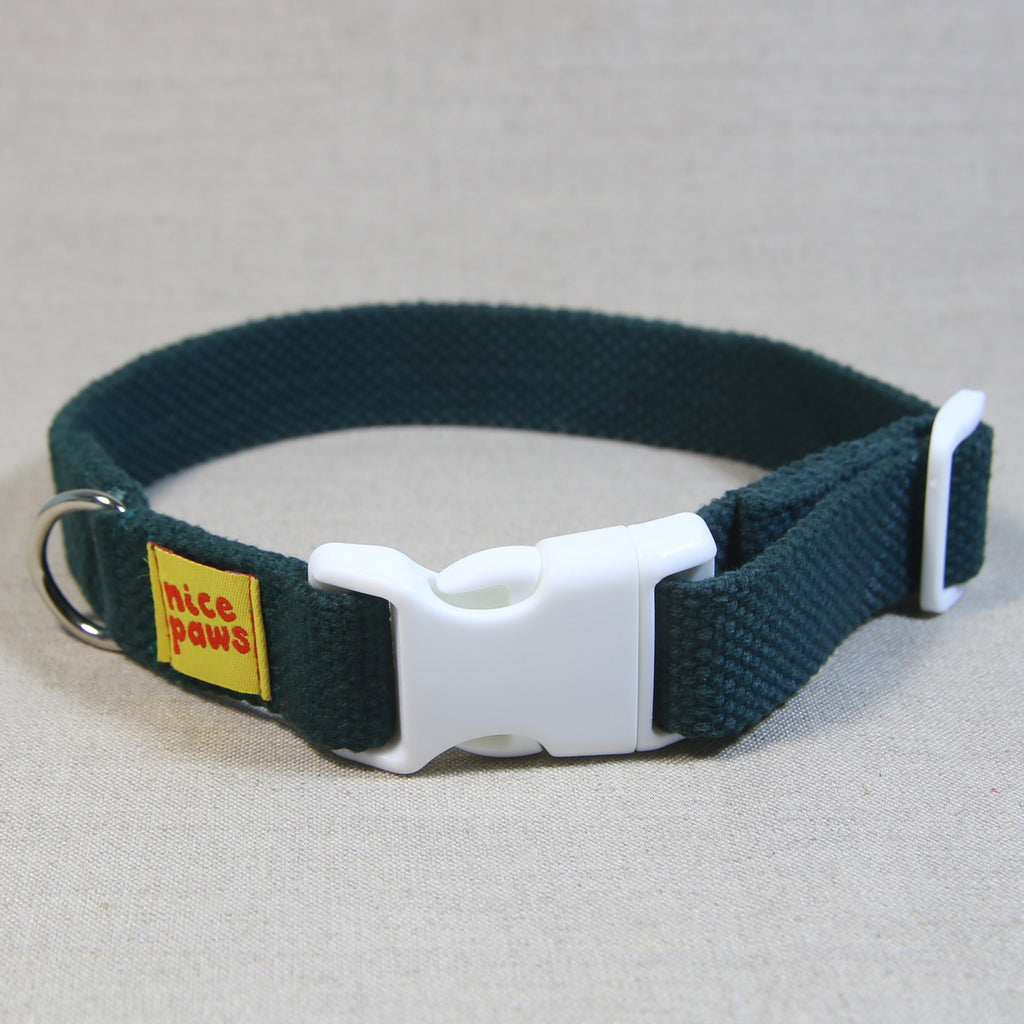 Cotton Collar - Bottle Green/White