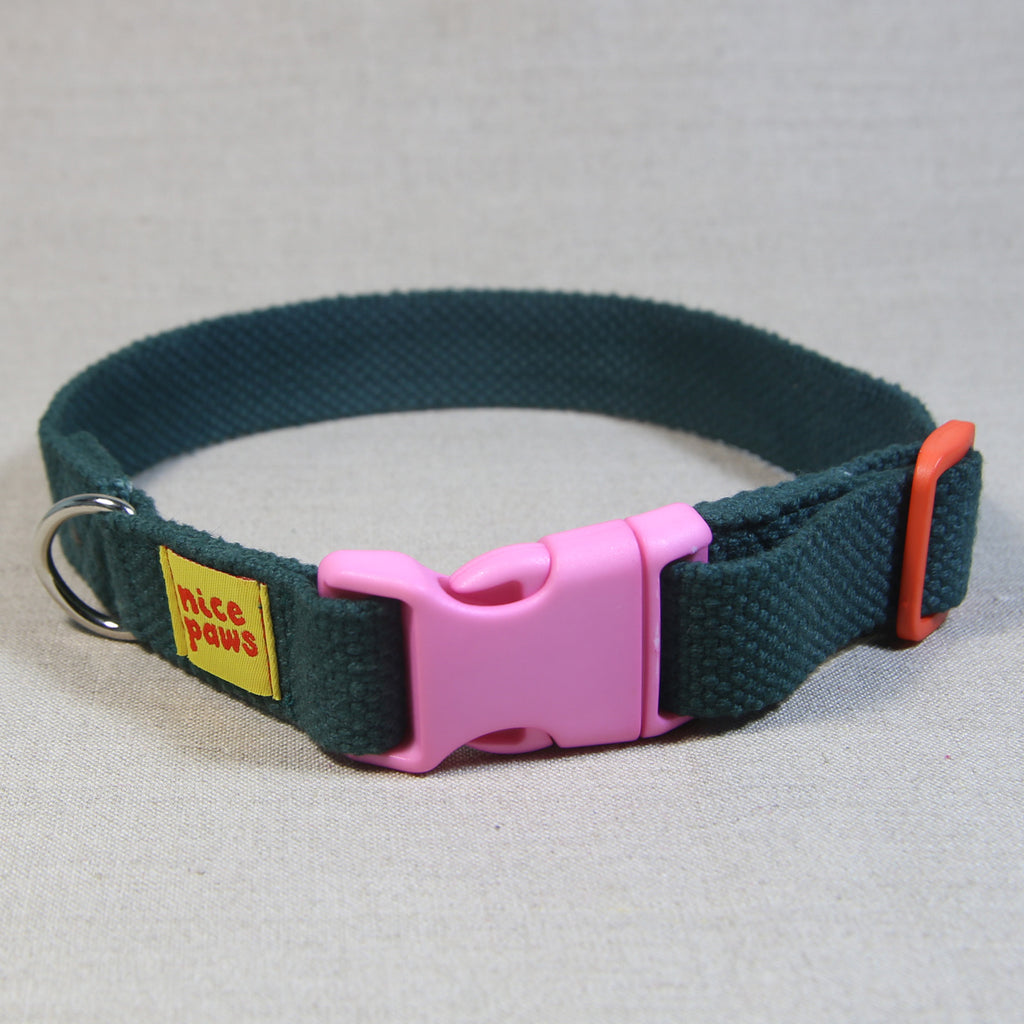 Cotton Collar - Bottle Green/Light Pink/Orange