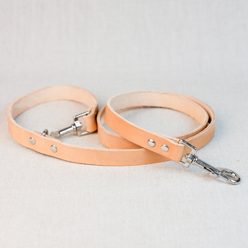 Clip Handle Leather Leash - Natural