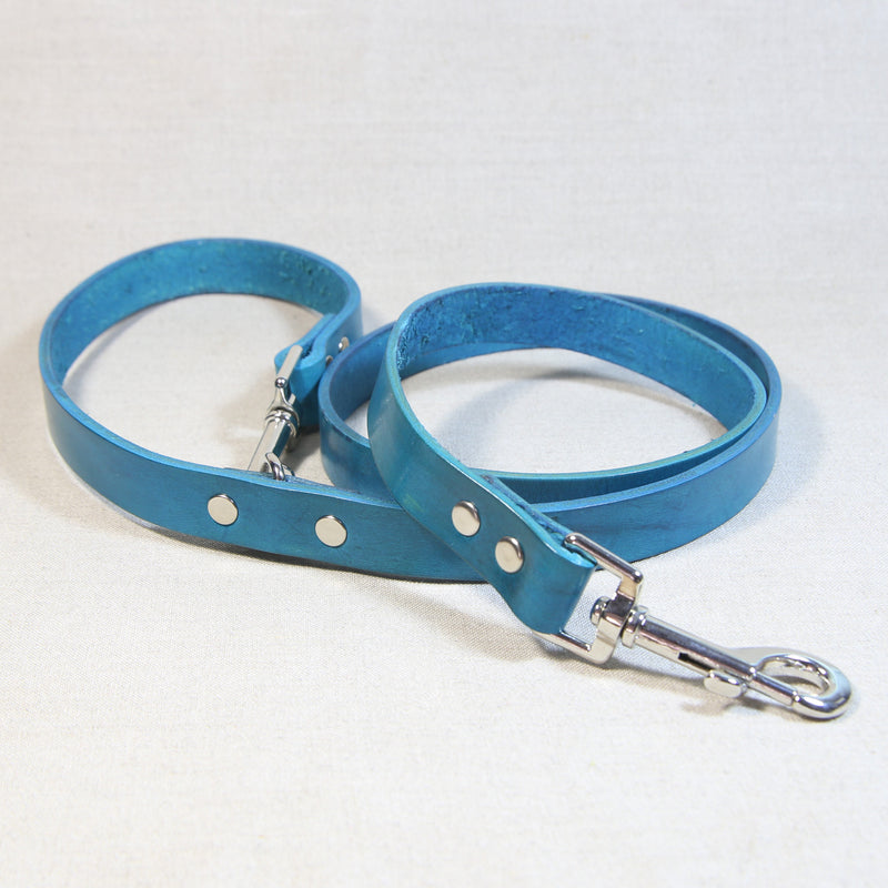 Clip Handle Leather Leash - Turquoise
