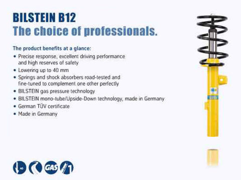 Bilstein B12 15-16 Audi A3 Quattro Premium Plus/Prestige L4 2.0L Front and Rear Suspension Kit - 46-258106