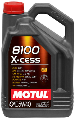 Motul 5L Synthetic Engine Oil 8100 5W40 X-CESS - 502 00-505 00-LL01-229.5-Porsche A40 - Imagine Motorsports