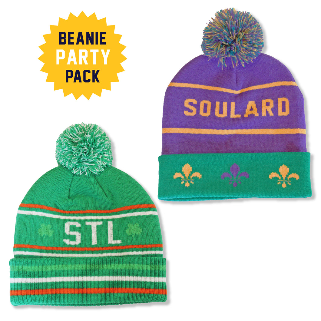 Retro Beanie Party Pack - Mardi + St. Pat's