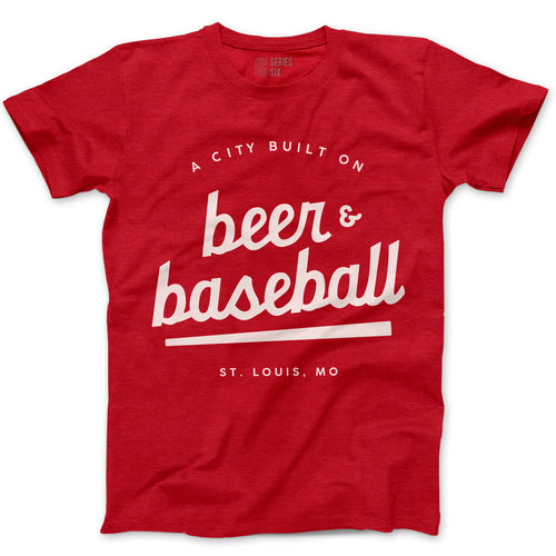 A City Built on Beer and Baseball Unisex Short Sleeve T-Shirt - Red
