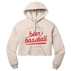 Beer & Baseball Hooded Cropped Sweatshirt