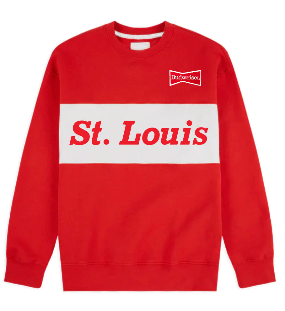 Budweiser St. Louis Color Block Crewneck Unisex Sweatshirt