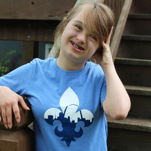 Fleur De Lis Skyline Short Sleeve Youth T-Shirt - Light Blue