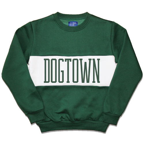 Dogtown Color Block Crewneck Unisex Sweatshirt - Forest Green