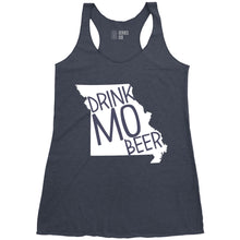 Load image into Gallery viewer, The Original Drink MO Beer Ladies Racerback Tank - Indigo