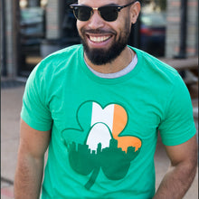 Load image into Gallery viewer, Shamrock Skyline Flag St. Patrick's Day Short Sleeve Unisex T-Shirt