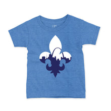 Load image into Gallery viewer, Fleur De Lis Skyline Short Sleeve Youth T-Shirt - Light Blue