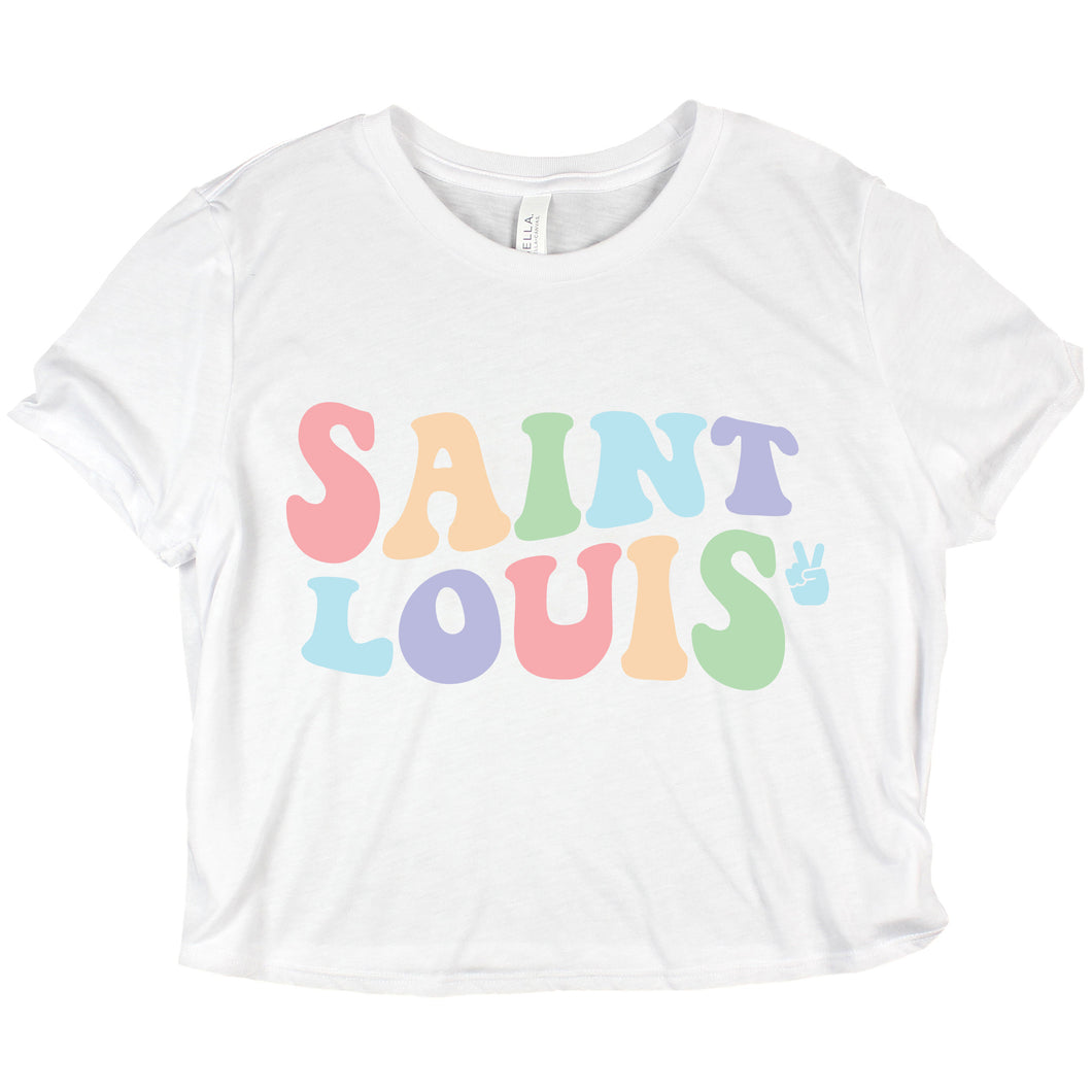 Saint Louis Rainbow Groovy Ladies Crop Top T-Shirt