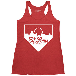 St. Louis Baseball Home Plate Skyline Ladies Racerback Tank