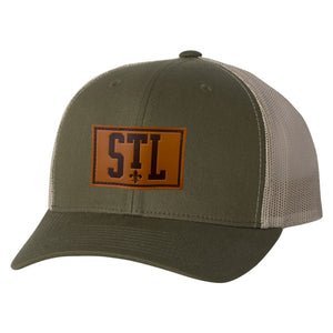 STL Fleur de Lis Leather Patch Trucker Hat